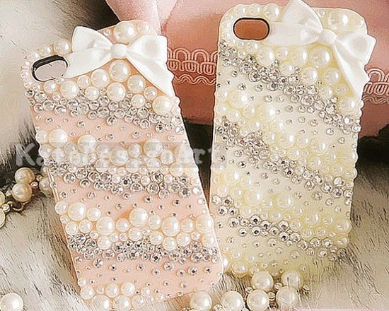 handmade iphone 4s case, iphone 4 cases iphone cover skin iphone 5 case - bowknot pearl iphone 4 cases