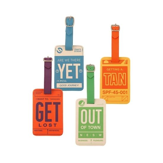 Bright, Colorful Luggage Tags, $18