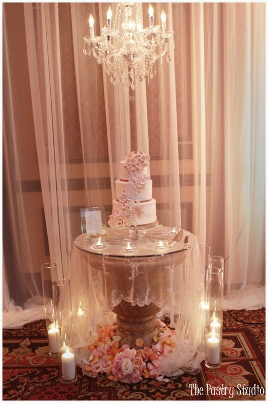 A Romantic Wedding Cake and Dessert Bar