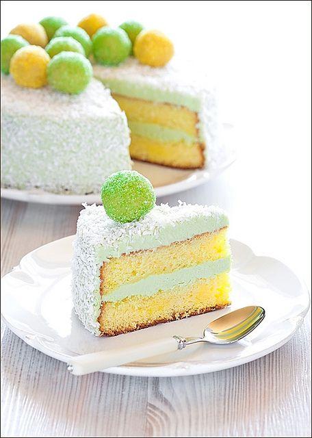 Fresh, cheerfully hued, completely lovely sounding Saffron and Matcha Cake. #matcha #saffron #cake #white #foodie #dessert #baking #frosting #entertaining