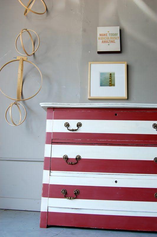 striped dresser #dresser #paint #striped