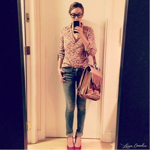 casual work week outfit {lauren conrad} #glasses, #jeans, #flower top, heels