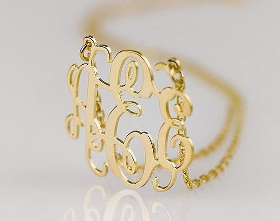 Monogram necklace - 1.5 inch Personalized Monogram - 925 Sterling silver 18k Gold Plated. $53.95, via Etsy.
