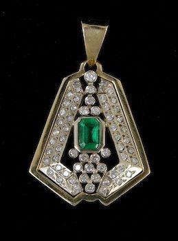 gold, diamond and emerald deco pendant