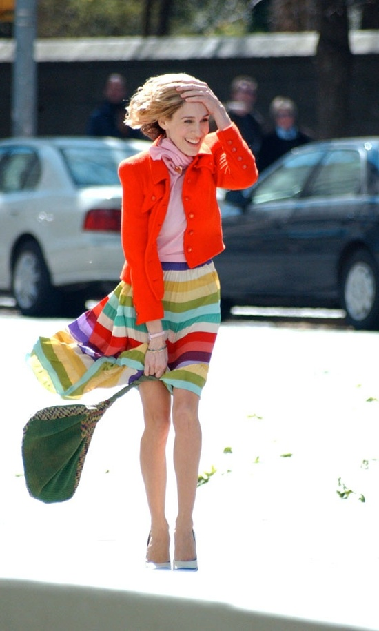 Carrie Bradshaw, striped bright colored skirt, red jacket