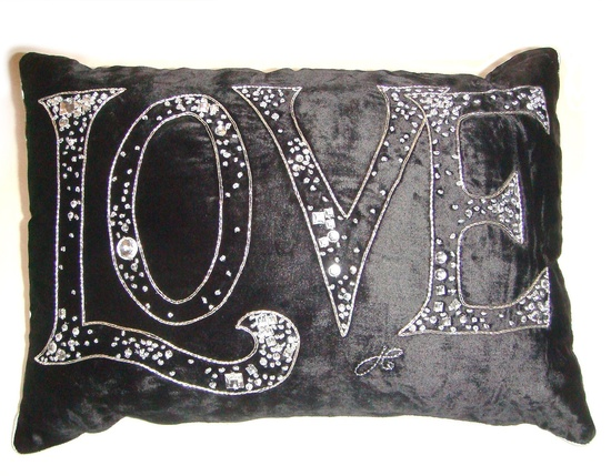 Hollywood Luxe Black Velvet Diamante Crystal Love Pillow Luxury Interiors, Designer Furniture & Beautiful Home Decor Enjoy & Be Inspired More Beautiful Hollywood Interior Design Inspirations To     Repin & Share @ InStyle-Decor.com Beverly Hills Happy Pinning