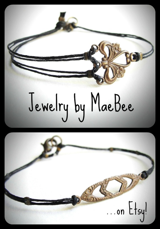 Art Deco Bracelets in natural brass on linen from JewelryByMaeBee on Etsy.
