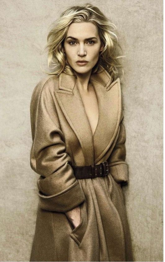 Kate Winslet in a classic camel coat.