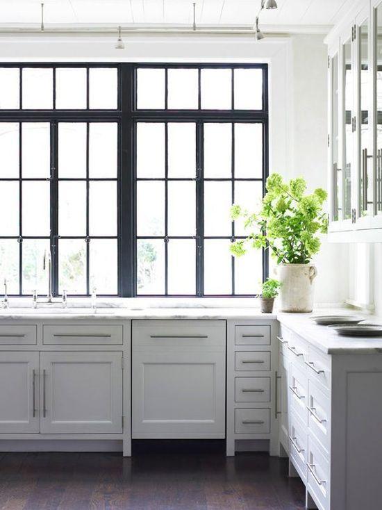 Black window panes in stunning kitchen
