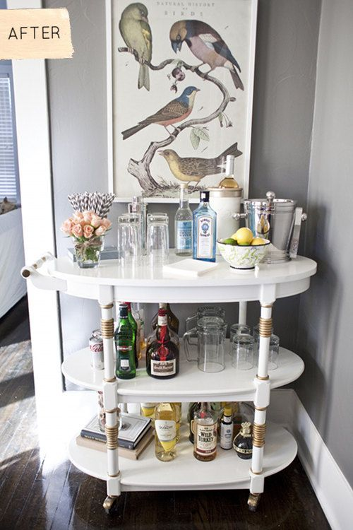 Great bar-cart before & after.