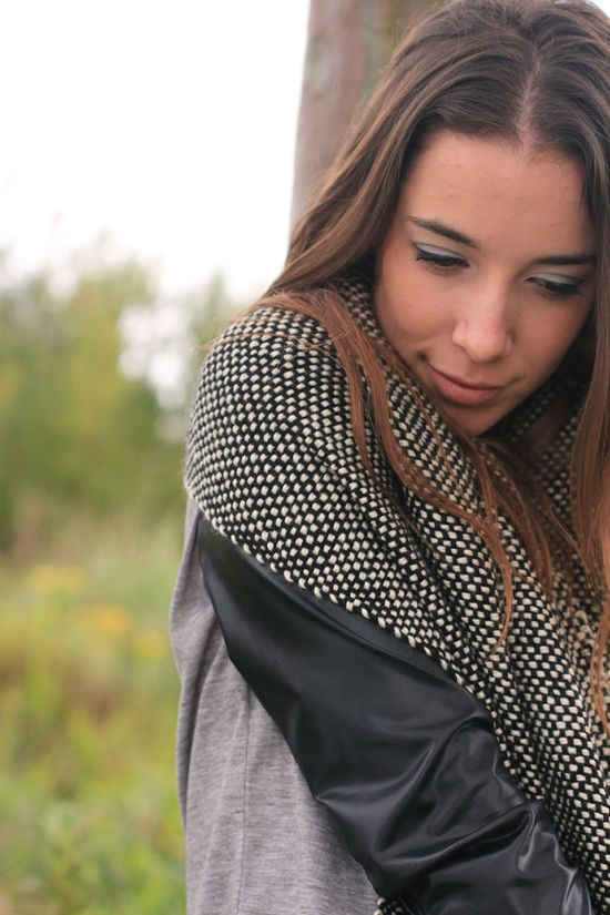 Black White wrap Handwoven  shawl with wool yarn by by texturable, $110.00