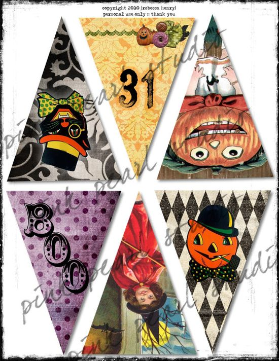 Vintage halloween banners