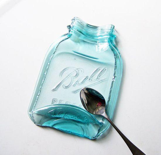 Larger Melted Vintage Mason Jar antique glass blue by MidwestFinds, $19.00