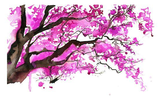 Watercolor Japanese Cherry Blossom Tree Painting, Jessica Durrant - The Cherry Blossom Tree print. via Etsy.