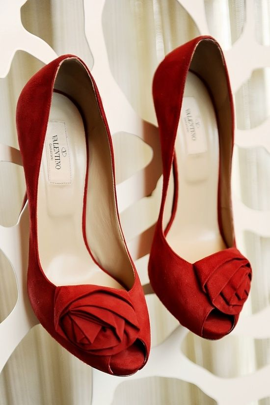 Valentino red peep toe pumps with rosette