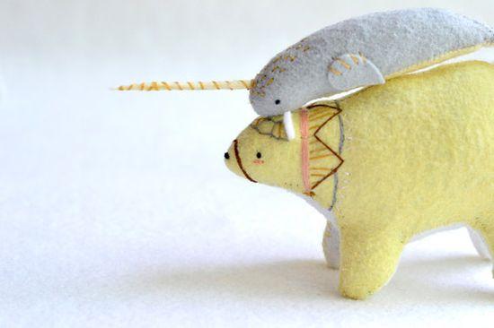 big yellow spirit bear - felt plush artist bear. and so many more!