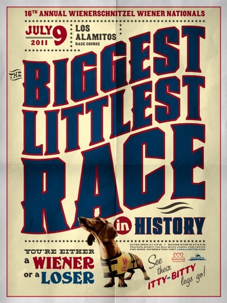 The Biggest Littlest Race in History - Done by DGWB for the Wienerschnitzel Wiener National - I often wonder why weiner dogs race?  I never see pugs racing?  or bassett hounds?