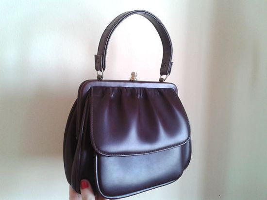 vintage maroon red bordeaux 60s handbag mad by bigtimesensuality, $20.00