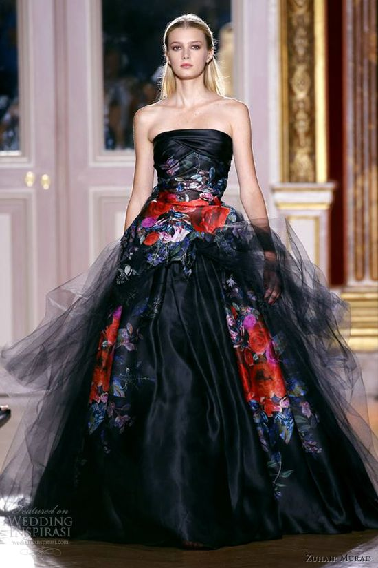 zuhair murad fall winter 2012 couture strapless black ball gown multi color floral print