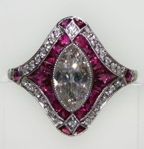 Diamond Ruby and Platinum Ring  1930s
