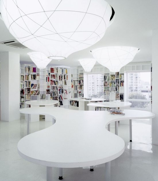 Interior, Office Space Design Triggers Creativity: Contemporary White Interior Office Space Library