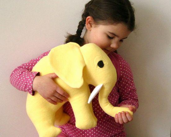 Yellow Elephant Organic Toy  GIANT Stuffed Animal by SewnNatural, $85.00
