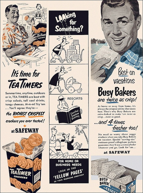 It's time for Tea Timers! #food #crackers #vintage #1950s #ad