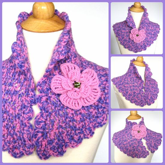 Pink & Lavender #Crochet #Capelet with #Flower #Brooch