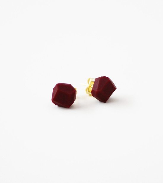 plum geo earrings.