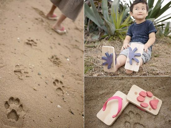 wooden animal track sandals for kids. what a fantastic idea!