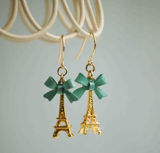 Eiffel Tower Earrings Paris Love Mint Green by redtruckdesigns