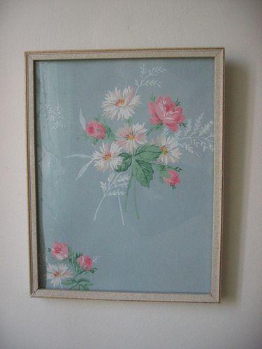 Framed vintage wallpaper