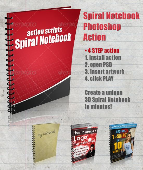 3D Spiral Notebook Action Script - GraphicRiver Item for Sale