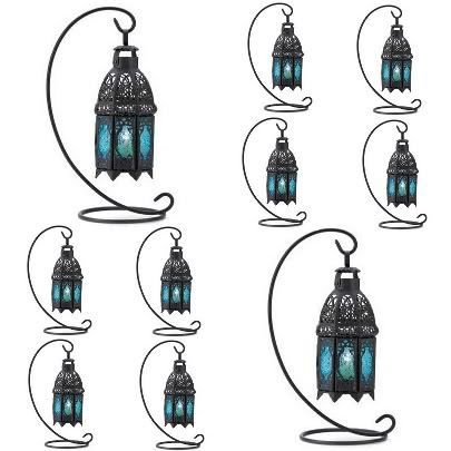 10 Blue Pressed Glass Candle Lantern and Stand Peacock Wedding Centerpieces | eBay