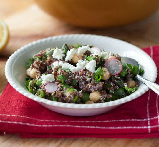 Quinoa with chickpeas, asparagus, and fresh peas.