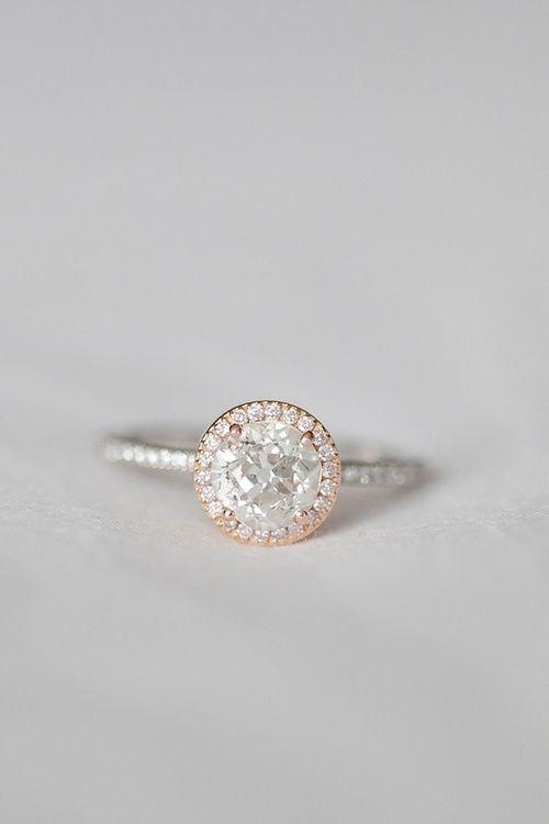 diamond + rose gold engagement ring