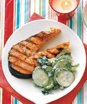 Grilled Salmon With Cucumber and Celery Salad from realsimple.com #myplate #protein #vegetables