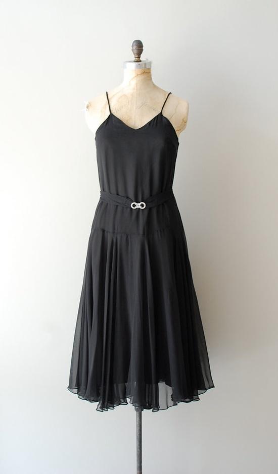 vintage 1930s Deco Nights silk chiffon dress     #vintagedress #1920s #1930s #deco