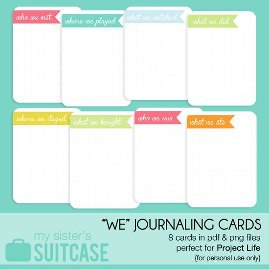 """WE"" Journaling Card Printable -- from My Sister's Suitcase"