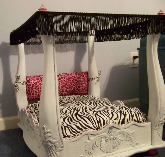 Luxury,upcycled small dog, pet, or 18 inch doll bed. $200.00, via Etsy.