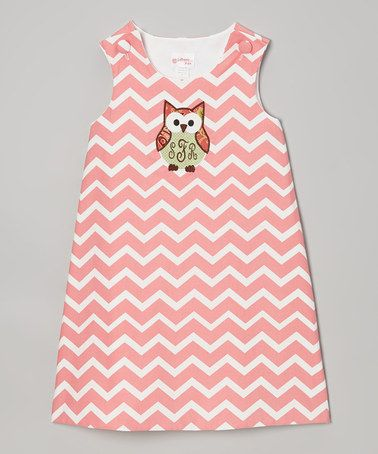 Coral Zigzag Owl Monogram Jumper by Lollypop Kids Clothing on #zulily!