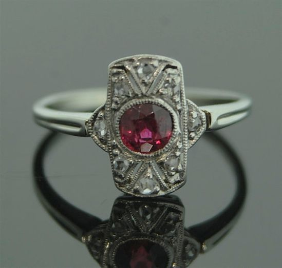 Antique Ruby Ring  18k White Gold and Diamond by SITFineJewelry,