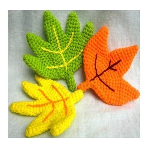 "Crochet pattern for ""Close to Nature"" leaves."