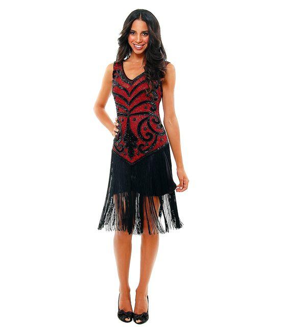 1920's THE SABLE Red & Black Beaded V Dropped Waist and Fringe Skirt