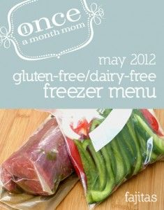 Freezer cooking menu for gluten free and dairy free lifestyles. Grocery lists, recipe cards, instructions, labels and more.