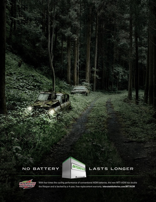 Interstate Batteries: No Battery Lasts Longer. Print ad.