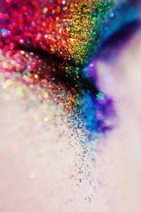 Glittery Rainbow Eye Makeup
