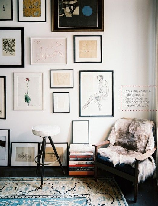 art wall. the home of julia leach.  photograph via lonny.  (Blog pals anna h and Anknel and Burblets collaborate to style the interior of the A+B family's future home near the Ashdown Forest in East Sussex, England. )