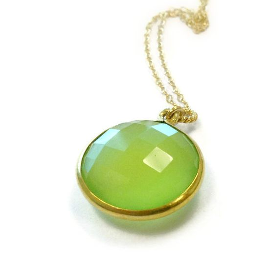 Green Necklace Gold Jewelry Chalcedony Gemstone by jewelrybycarmal, $40.00