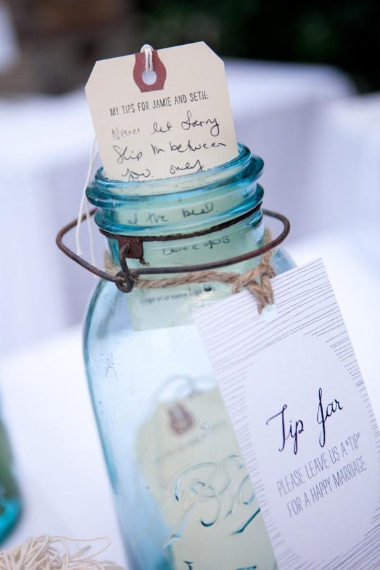 "Alternative to guest book: wedding advice ""tip"" jar."